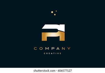 pi p i  white yellow gold golden metal metallic luxury alphabet company letter logo design vector icon template