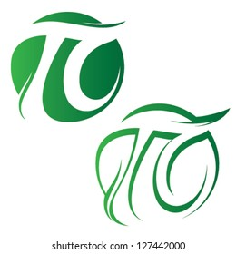 pi sign of green leafs