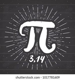 Pi symbol hand drawn icon, Grunge calligraphic mathematical sign, vector illustration on chalkboard background.