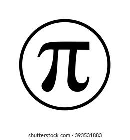 Pi symbol icon in circle . Vector illustration