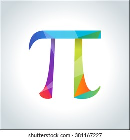 Pi symbol icon. Pi sign in polygon geometric style. Isolated Vector illustration.