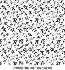 Pi symbol seamless pattern vector illustration. Hand drawn sketched Grunge mathematical signs and formulas, Vector illustration.
