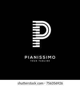 Pianissimo logo template design with stylized letter P. Vector illustration.