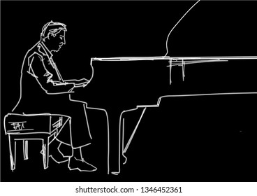 Pianist at the grand piano on stage. White contour on black background. Piano player silhouette. Musical hand drawn illustration. Vector drawing. Sketch style.