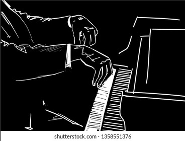 Pianist hands on piano keyboard. Black and white vector illustration. Musical sketching. Graphic drawing. White piano player contour on black background.