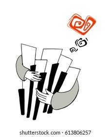Pianist in love, hand drawn vector illustration