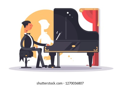 Pianist man in luxury suit playing song. Serious young male musician performing concert on piano vector illustration. Music fun and entertainment flat style concept