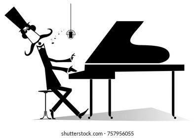 Pianist original silhouette isolated. Mustache gentleman in the top hat is playing music on piano and singing