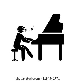 pianist playing piano icon. Elements of people profession in multi icons. Premium quality graphic design icon. Simple icon for websites, web design, mobile app on white background