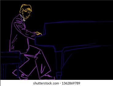 Pianist plays the grand piano. Piano player silhouette. Musician contour. Neon lines on black background. Vector musical illustration.
