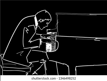 Pianist plays the piano. Piano player silhouette. Classical music illustration. White contour on black background. Hand drawn sketch. Vector.