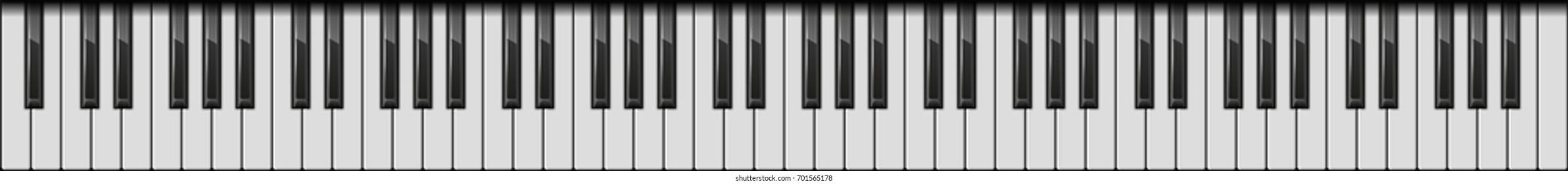 Piano 88 Keys. Realistic Style. Vector