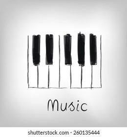 Piano art - hand made piano keys illustration