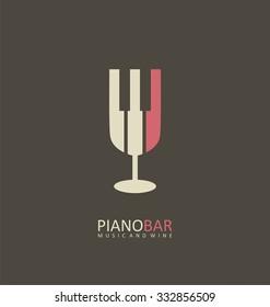 Piano bar creative symbol concept. Wine and music restaurant logo design template.