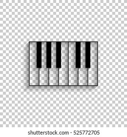 piano - black vector  icon with shadow
