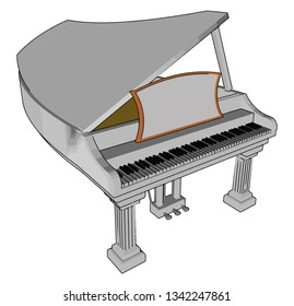 Piano can have many individual parts supporting six functional features: keyboard hammers dampers bridge soundboard and strings vector color drawing or illustration