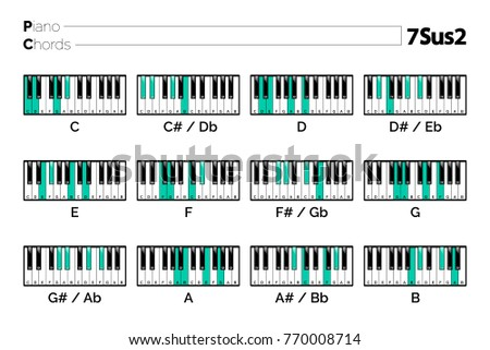 Piano Chord 7 Sus 2 Chart Graphic Music Stock Vector Royalty Free