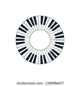 Piano circle keyboard icon. Flat color design. Vector illustration.