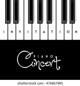 Piano concert invitation design template. Vector illustration.