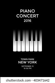 Piano concert poster design. Piano keys. Vector illustration