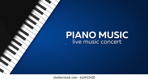 Piano concert poster design. Live music concert. Piano keys. Vector illustration