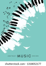 Piano concert poster. Music conceptual illustration. Abstract style blue background with hand drawn piano keyboard, flying notes and birds