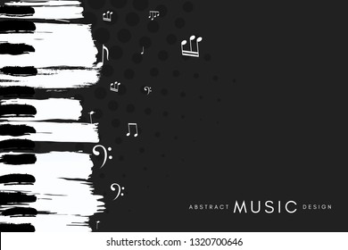 Piano concert poster. Music conceptual illustration. Abstract style black background with hand drawn piano keyboard and notes.