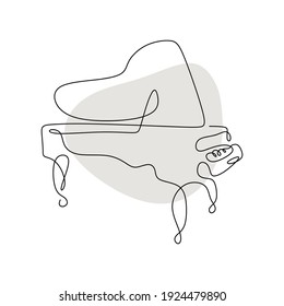 Piano continuous one line vector drawing. Pianoforte hand drawn silhouette. Acoustic musical instrument sketch. Grand piano minimalistic with grey color.