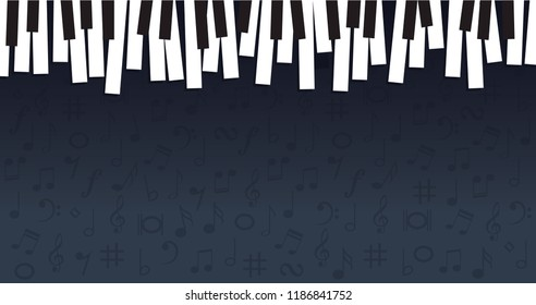 Piano day keyboard Music notes musical notes waves Vector party loading icon background banner icon symbols keys funny fun music art seamless pattern sound backdrop Hearing staff Music Line card songs