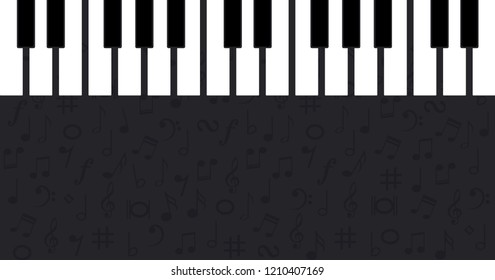 Piano day keyboard Music notes musical notes waves Vector party loading icon background banner icon symbols keys funny fun music art seamless pattern sound backdrop concept staff Music Line card