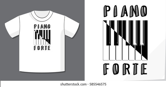 Piano Forte as Soft and Loud Calligraphy Illusion Logo Lettering and Piano Keys Composition with Application Example on T-Shirt Vector Template - Black on White Background - Yin Yang Graphic Design