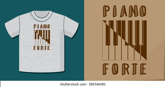 Piano Forte as Soft and Loud Calligraphy Illusion Logo Lettering and Piano Keys Composition with Application Example on T-Shirt Template - Brown on Heather Grey Background - Yin Yang Graphic Design