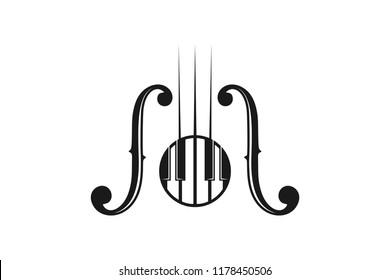 piano and guitar musical instrument logo design