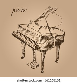 Piano. Hand drawn musical instrument. Sketch. Vector illustration.