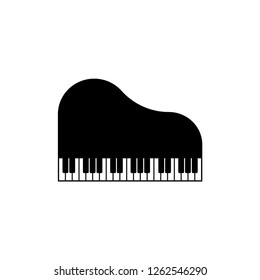 Piano Icon in Flat & Trendy Glyph Style. Play Music Vector Illustration Logo Template.