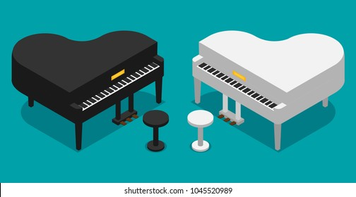 Piano icon flat vector