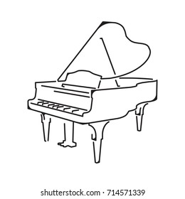 Piano icon, isolated on white background, vector illustration