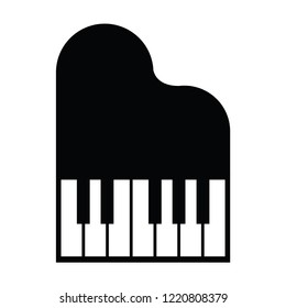 Piano icon and keys of piano concept modern music print and web design  piano poster on white vector illustration