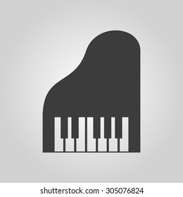The piano icon. Music and pianist, musician, synthesizer symbol. Flat Vector illustration. Button Set
