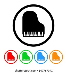 Piano Icon in Vector Format with Color Variations