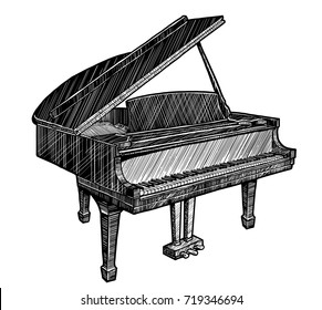 Piano illustration, drawing, engraving, ink, line art, vector