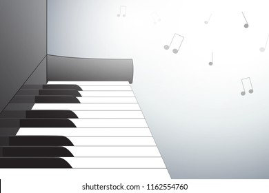 Piano illustration from side view, with musical notes. Vector eps 10.
