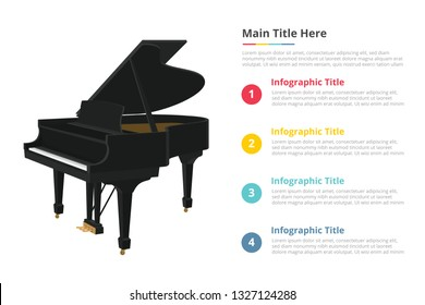 piano infographic template with 4 points of free space text description - vector