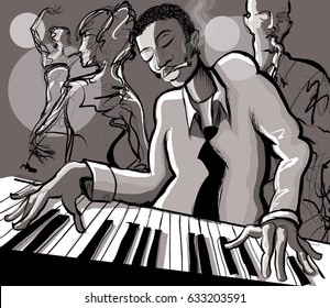 Piano jazz, singer and saxophonist - vector illustration