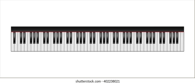 Piano keyboard, 88 keys, isolated