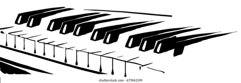 piano keyboard black and white vector sketch, simple drawing