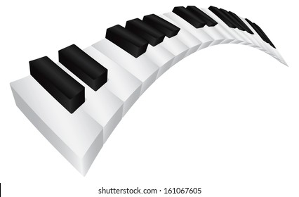 Piano Keyboard with Black and White Wavy Keys in 3D Isolated on White Background Vector Illustration
