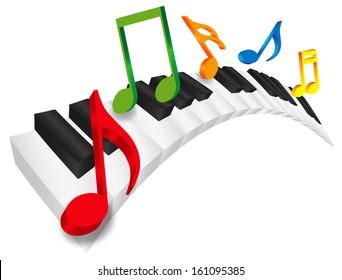 Piano Keyboard with Black and White Wavy Keys and Colorful Music Notes in 3D Isolated on White Background Vector Illustration