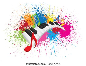 Piano Keyboard with Black and White Wavy Keys and Colorful Music Notes in 3D Paint Splatter Abstract Color Vector Illustration