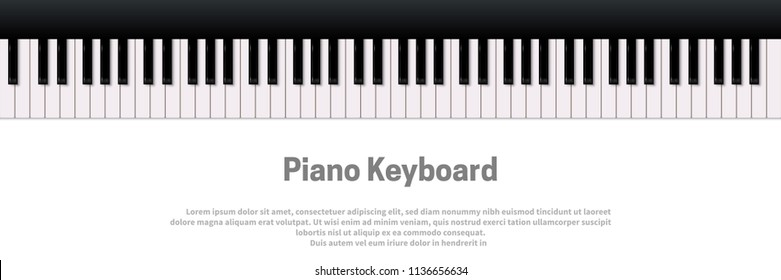 Piano Keyboard Isolated On White Background Vector Music Design Template